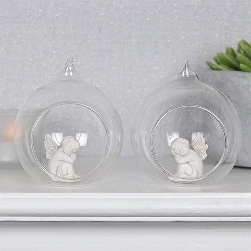 Cherub in hanging glass ball
