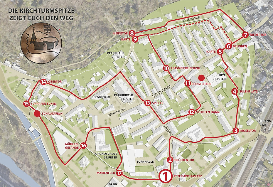 Historischer Stadtmauerrundgang Peter-Roth-Platz Trier Ehrang