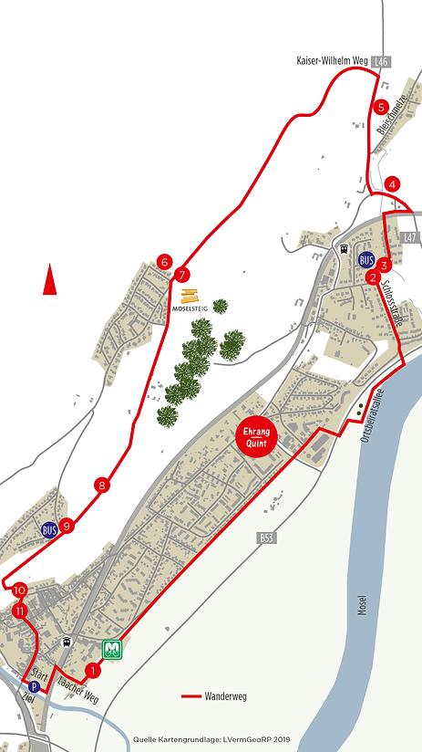 Karte Wanderung über den Schlosspark Quint und die Heide