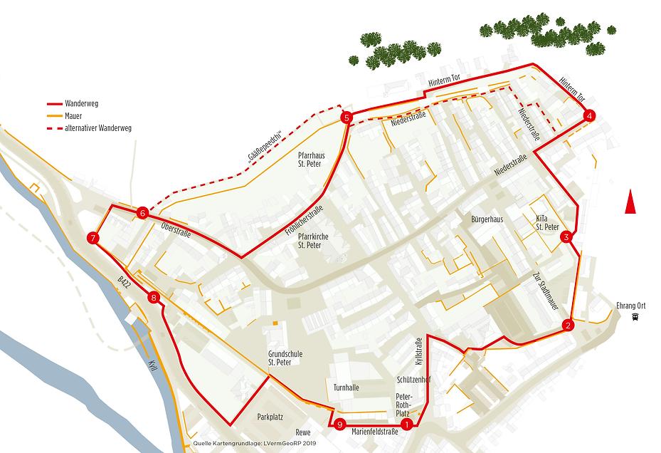 Karte historischer Stadtmauerrundgang Ehrang