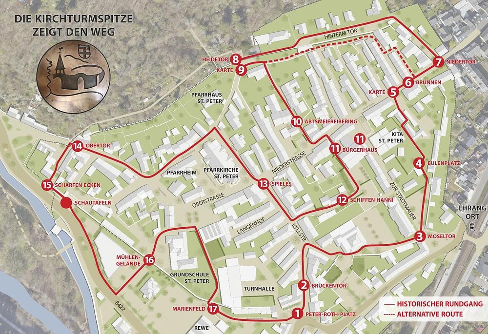 Karte historischer Stadtmauerrundgang Ehrang (Quelle: Stadtplanungsamt Trier)