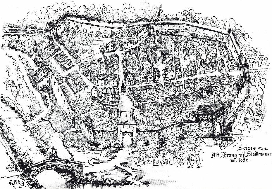 Skizze von Alt-Ehrang mit Stadtmauer um 1780