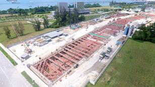 Construction of Marina South Station & T