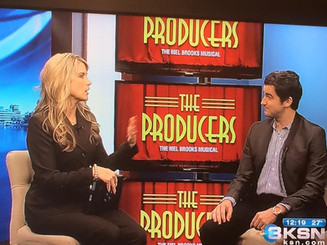 """TV circuit doing press on the national tour of """"The Producers""""."""