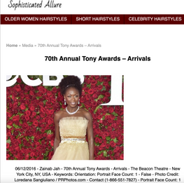 Zainab Jah: 70th Annual Tony Awards, NYC