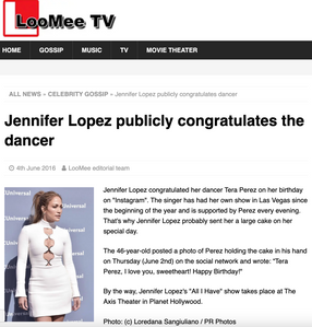 """Jennifer Lopez publicly congratulates the dancer"" LooMee TV"
