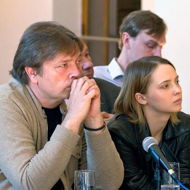 Александр Бобровский, Юлия Хлынина. Пресс-конференция А.С.Кончаловского 13 мая 2016 года
