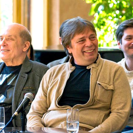 Александр Филиппенко, Александр Бобровский, Владислав Боковин. Пресс-конференция А.С.Кончаловского 13 мая 2016 года