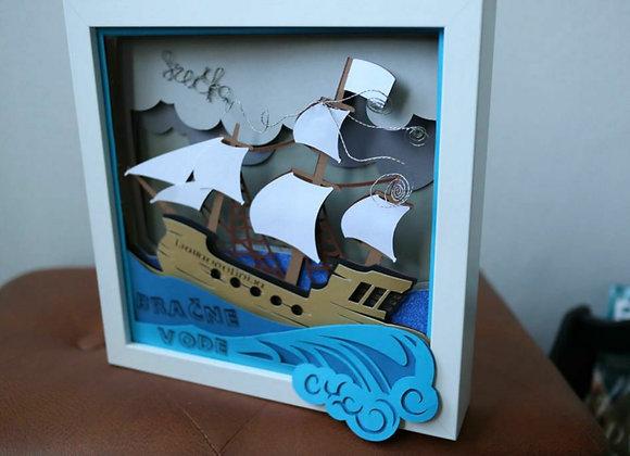 Okvir 3D Ljubavnolinija jedrenjak