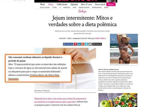 Jejum intermitente: matéria no site da revista Glamour com a nossa Nutri!