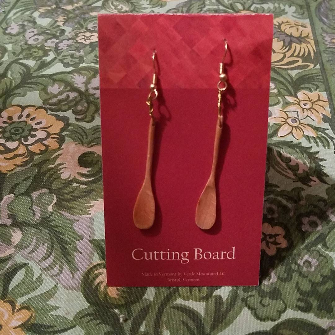 Wooden spoon earrings