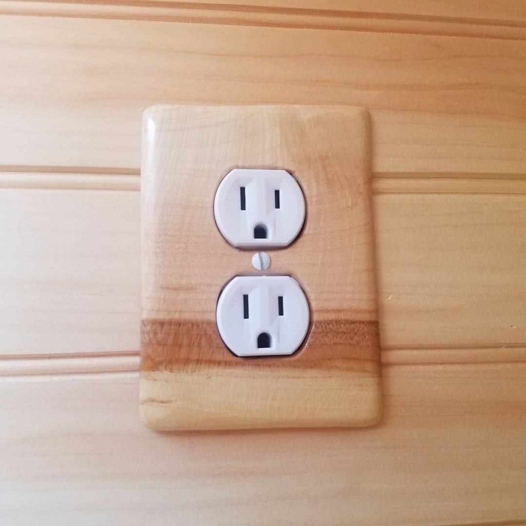 Custom wood outlet cover