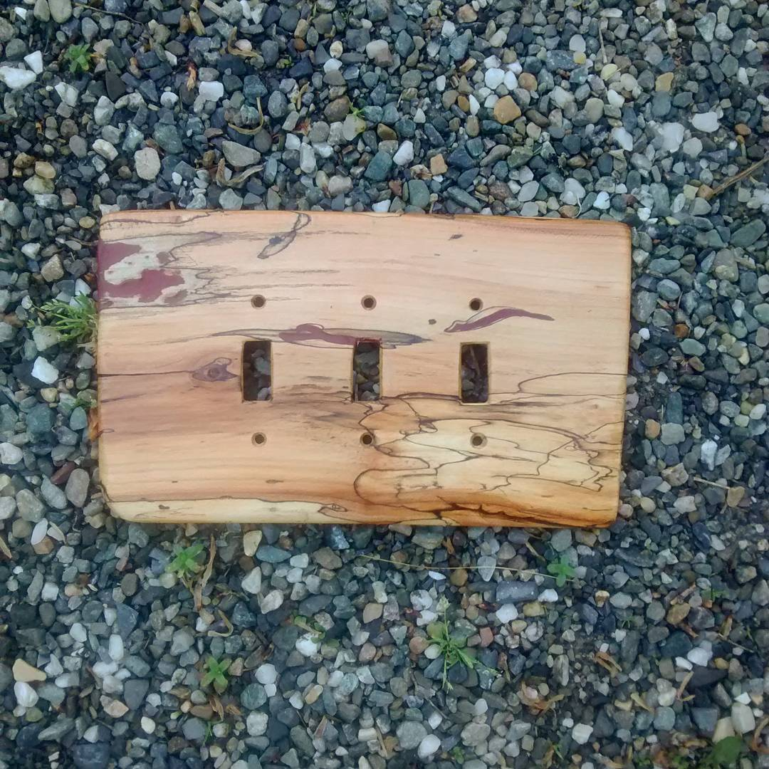 three switch cover from spalted wood