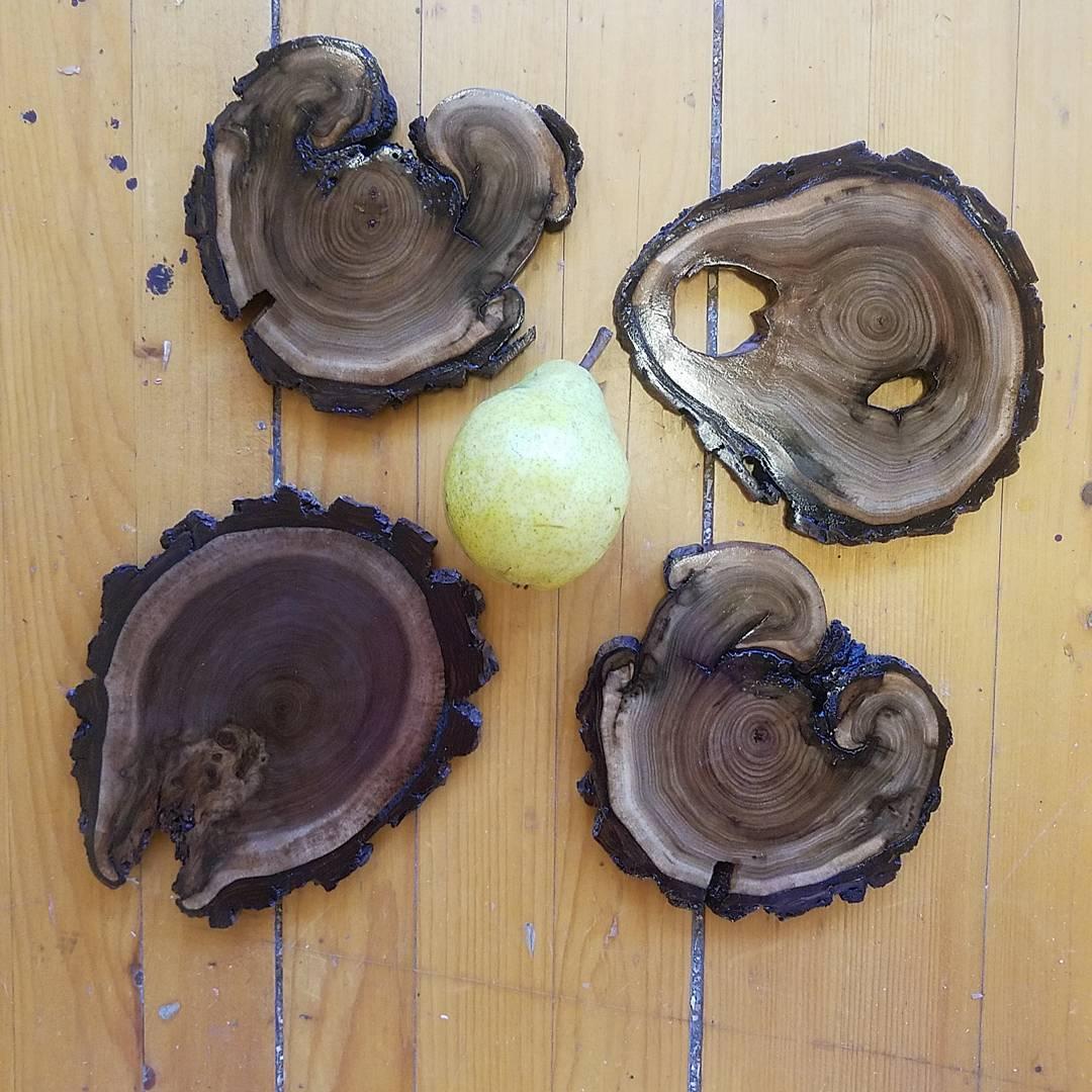 butternut and black walnut coasters