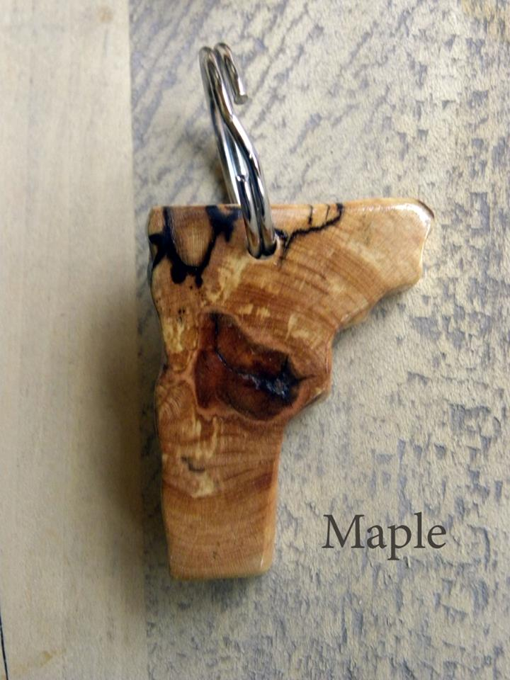 spalted maple vermont key ring
