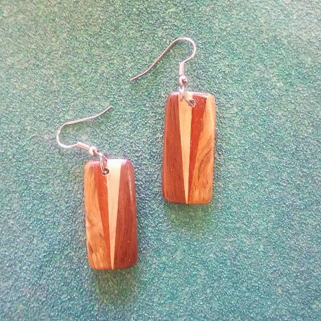 Pipe wood earrings