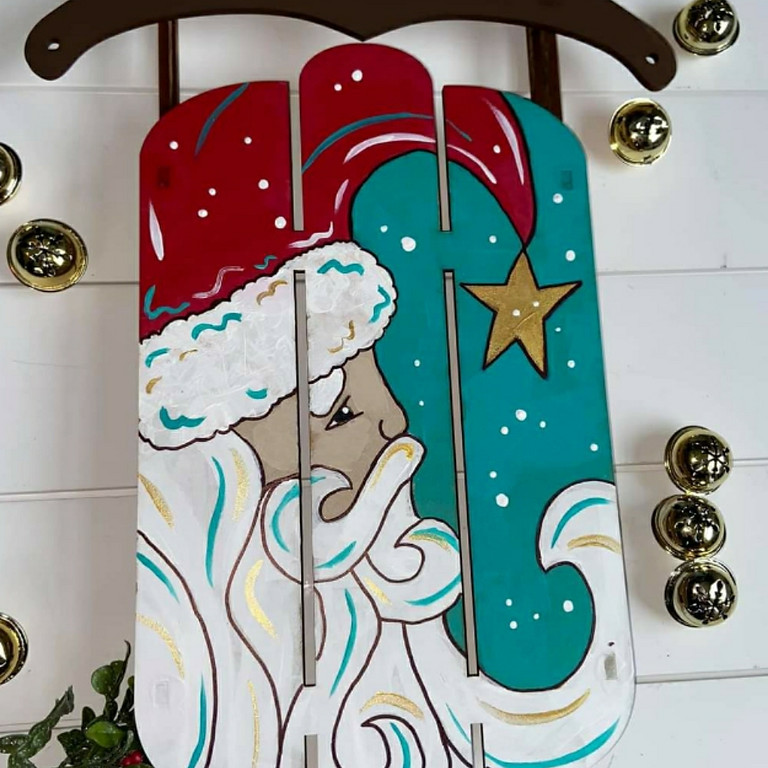 Sleigh Ride Wooden Vintage Santa