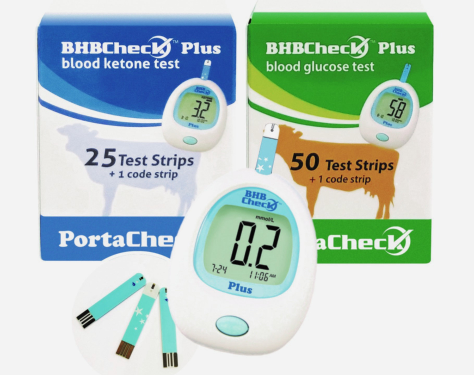PortaCheck, Portatest, Porta Check, BHB, ketosis, on-farm tests, BHBCheck, BHBCHeck Plus, blood ketone meter, glucose, bovine blood, whole blood, 5 second test, screening, mmol/L