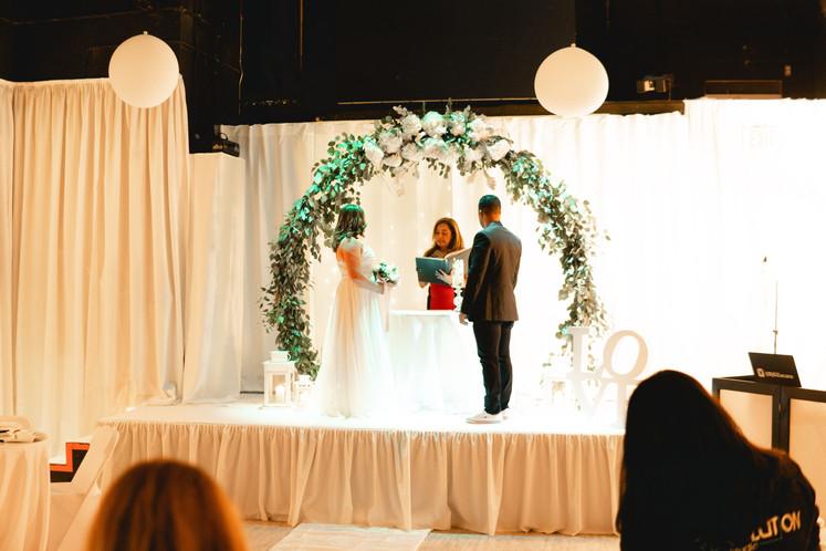 Bride and groom in a wedding venue in Miami