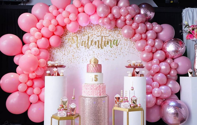 pink decoration with balloon arrangement cake party favors