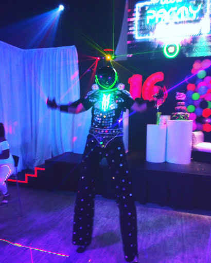 led robot in a event venue in miami