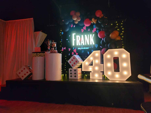 Elegant stage with casino theme on 40th birthday