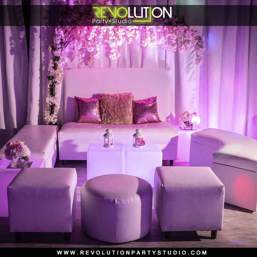 pink decorated banquet hall for parties