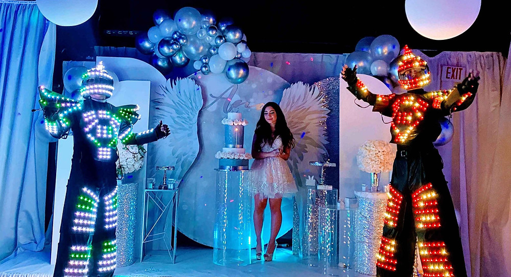 led robot show at sweet 16 party