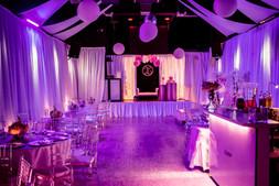 purple decorated event venue in miami