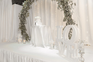 White decoration and love sign in wedding venue in Kendall Miami