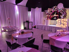 reception hall with pink lights decoration