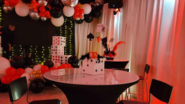 Black, white and red decoration in event venue