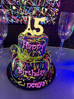 15 birthday fluorescent cake at teen party