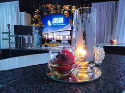 centerpiece with rose at event venue in miami