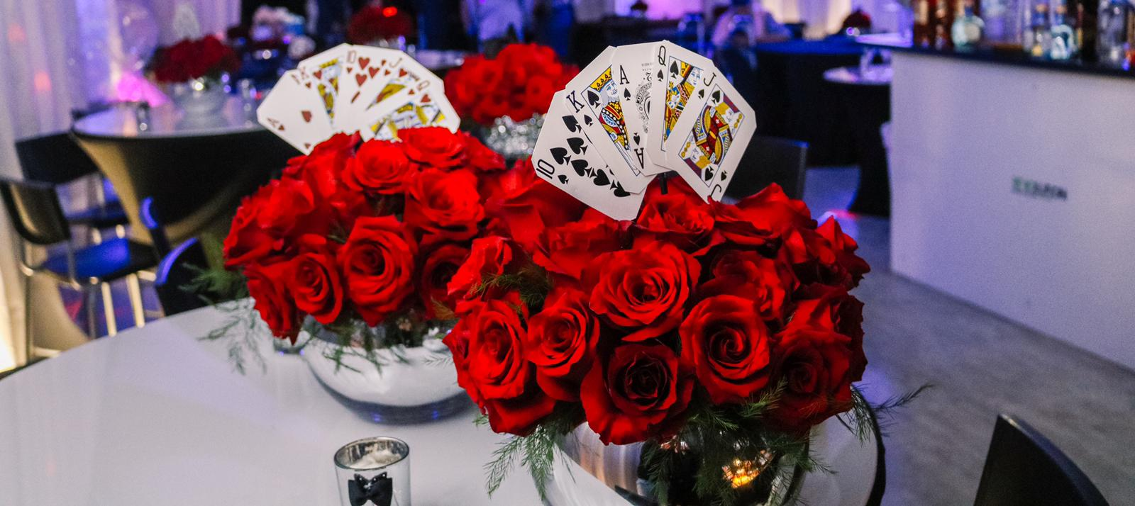 Roses and card decoration in banquet hall
