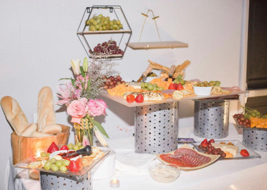 Pink grazing table for baby shower