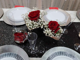 centerpieces with rose in banquet hall in miami