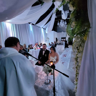 couple getting married in banquet hall in miami