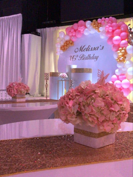 Pink decorated party hall in Kendall