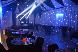 Banquet hall with blue light show