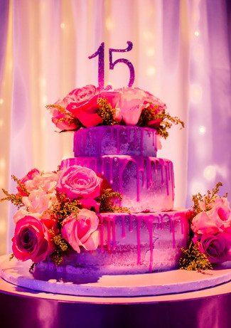 3 tier pink cake for 15th birthday