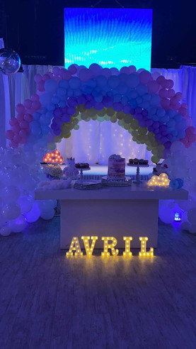 "Rainbow balloon arrangement with a ""Ayril"" sign below"