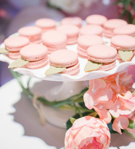 Pink candies for baby shower in banquet hall