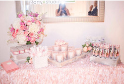 pink table decoration for baby shower in miami