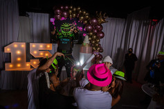 led robot giving dance show in banquet hall