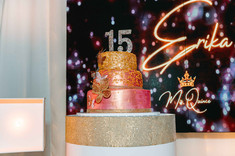 15th decorated cake at a banquet hall