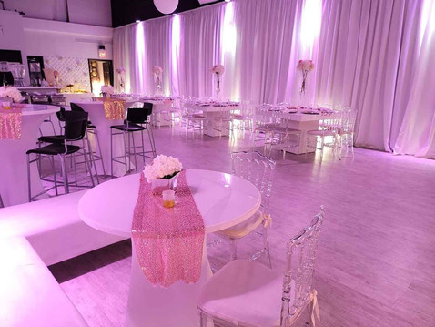 event hall with pink lights decoration