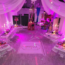 banquet hall in miami decorated with pink lights