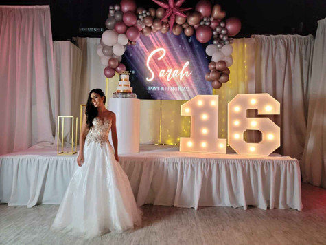 birthday girl on stage decorated for sweet 16