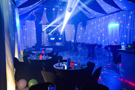 Banquet hall in miami with blue light show
